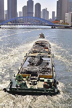 A traveling boat at Sumida River of Tokyo Editorial Stock Photo