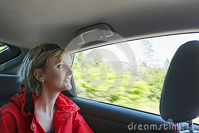 Traveling by car.