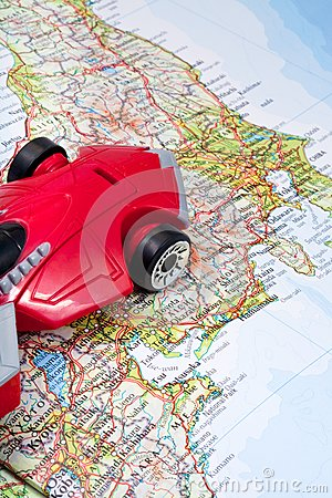 Traveling by car on world map
