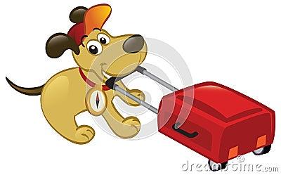 Traveling Dog Pulling A Luggage