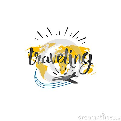 Free Traveling Icon World Tour Hand Drawn Lettering Tourism Adventure Concept Stock Photography - 107959882