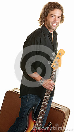 Traveling Musician with Guitar