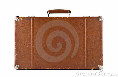 Traveling - old-fashioned suitcase isolated
