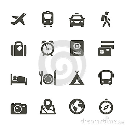 Traveling and transport icons.