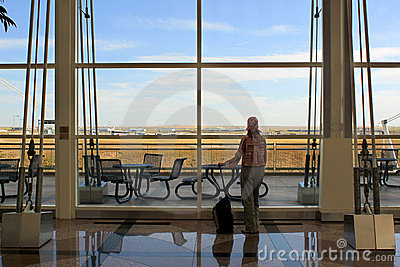 Traveller at airport terminal