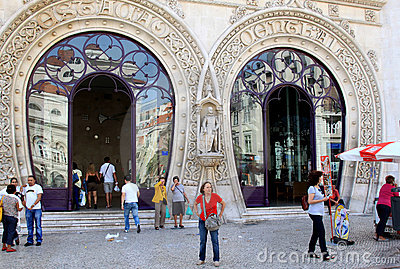 Travellers near Rossio Railway Station, Lisboa Editorial Stock Image