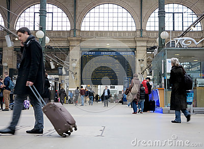 Travellers in Gare du Nord Editorial Stock Image