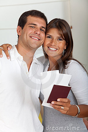 Travelling couple with passports