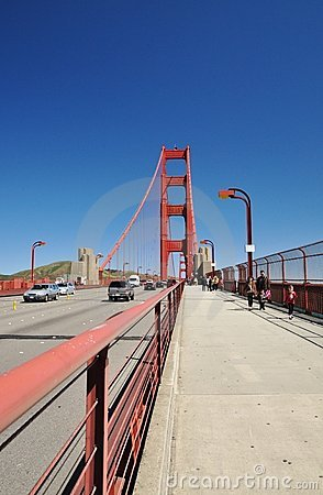 Travelling down the Golden Gate Bridge Editorial Photography