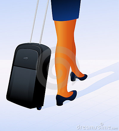 Travelling woman with luggage