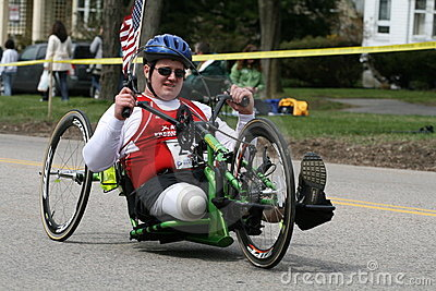 Travis Hill races his handcycle up the Heartbreak Editorial Stock Photo