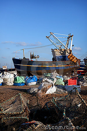 Trawler fishing boat industry Hastings England