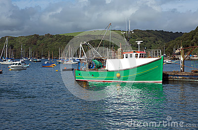 Trawler in Fowey estuary, Cornwall, UK