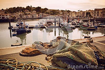 Trawlers in Saint Jean de Luz harbor in France