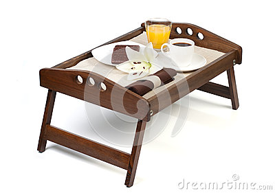Tray with breakfast