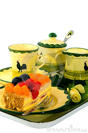 Tray with coffee and fruit cake