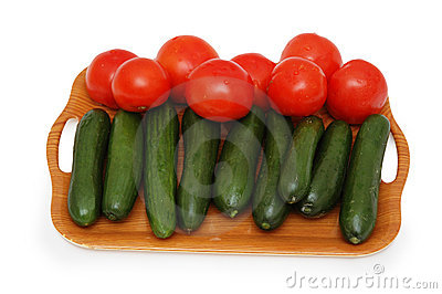 Tray with cucumbers and tomato