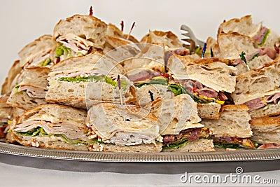 Tray of deli sandwiches