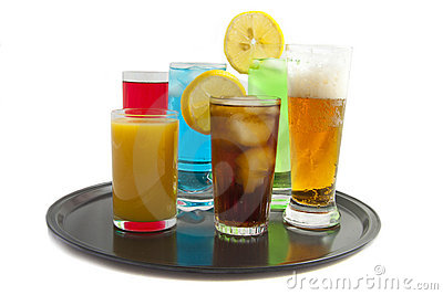 Tray with drinks Stock Photo