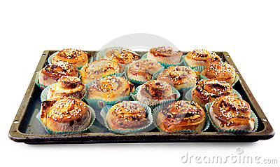 Tray with home made cinnamon rolls