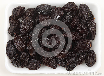 Tray of prunes from above