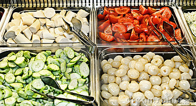 Tray of a self service buffet with vegetables