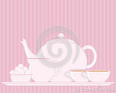 Tray with teapot