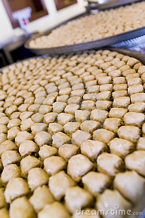 Trays of Baklava Pastries In An Arabic Restaurant