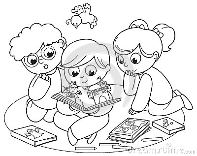 Tre bambini che leggono un libro a finestra
