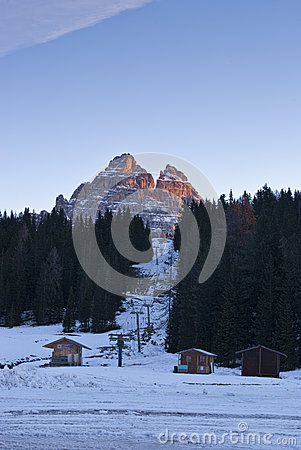 Tre Cime and ski lift