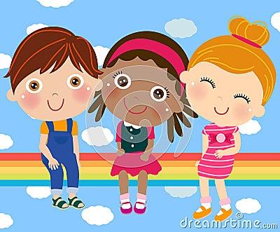 Tre gulliga barn som sitter på regnbågen