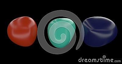 Tre oggetti astratti colorati ruotano Figura con colori di tendenza Forma geometrica astratta Forma semplice Elemento di progetta illustrazione vettoriale