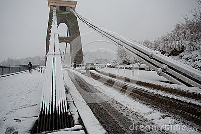 Treacherous conditions crossing Clifton Suspension bridge in the Editorial Photography