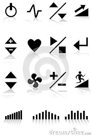 μαύρο treadmill κουμπιών λευκό