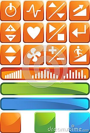 Treadmill Buttons: Shiny Square Set