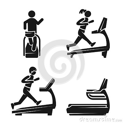 Treadmill icon set, simple style Vector Illustration