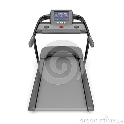 Treadmill machine on white