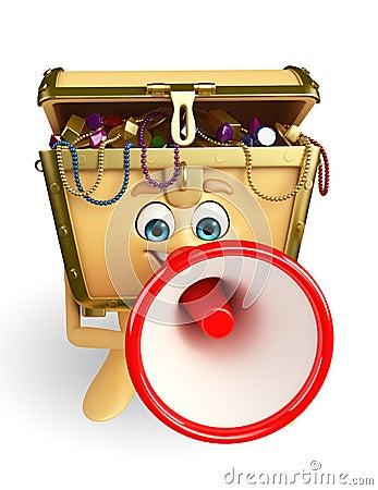 Treasure box character with Loudspeaker
