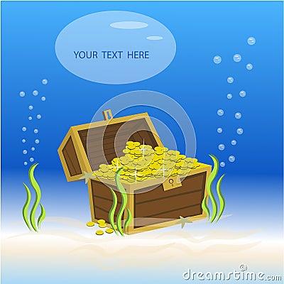 Treasure box underwater Vector Illustration
