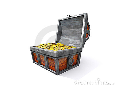 Treasure chest with coin