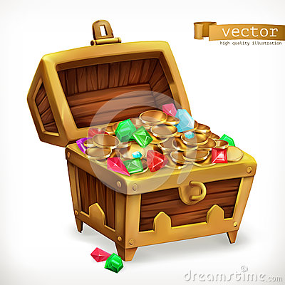 Free Treasure Chest. Gems And Gold Coins. Vector Icon Stock Photography - 86030562