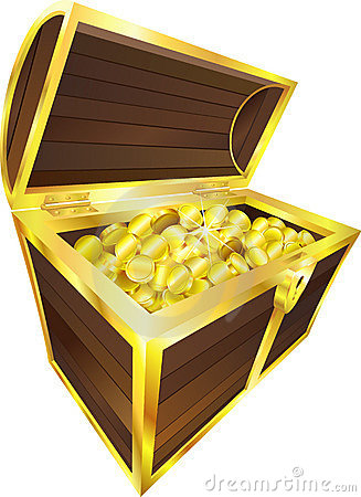 Treasure chest gold coins