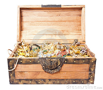 Treasure chest isolated on white