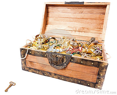 Treasure chest with key isolated on white