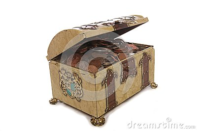 Treasure chest with money
