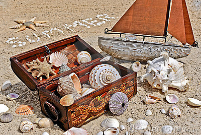 Treasure chest and sailboat