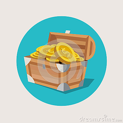 Free Treasure Chest With Golden Coins Flat Icon Stock Image - 43429231