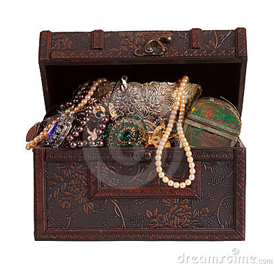 Free Treasure Chest With  Jewellery Royalty Free Stock Images - 20230219