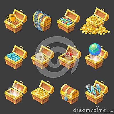 Free Treasure Chests Isometric Cartoon Set Stock Photo - 80682500