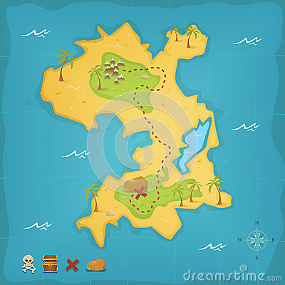 Free Treasure Island And Pirate Map Royalty Free Stock Photo - 26118565